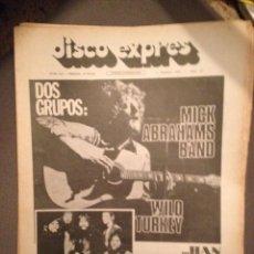 Revistas de música: DISCO EXPRES 213: MICK ABRAHAMS BAND,JETHRO TULL,WILD TURKEY,MAQUINA,MASSIEL,CAN,CAMILO SESTO,. Lote 184528988