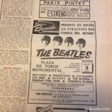 Revistas de música: BEATLES ANUNCIO ORIGINAL LA VANGUARDIA. Lote 191387427
