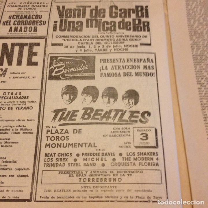 BEATLES ANUNCIO ORIGINAL LA VANGUARDIA (Música - Revistas, Manuales y Cursos)
