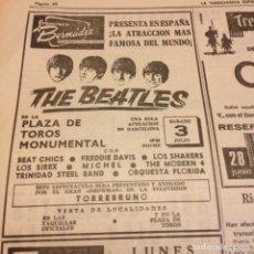 Revistas de música: BEATLES ANUNCIO ORIGINAL LA VANGUARDIA. Lote 191390003