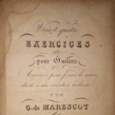 Revistas de música: VINGT QUATRE EXERCICES POUR GUITARE PAR C. DE MARESCOT GUITARRA. Lote 191424617