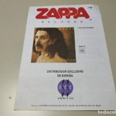 Revistas de música: 0220- ZAPPA RECORDS ESPAÑA CATALOGO CD/MC/LP 4 PAGINAS . Lote 194268697