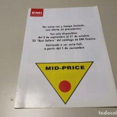 Revistas de música: 0220- CATALOGO CD EMI CLASSICS SPAIN 2 PAGINAS . Lote 194276452
