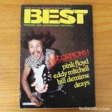 Revistas de música: BEST 177, 1983 SCORPIONS, PINK FLOYD, EDDY MITCHELL, BILL DERAIME, DEXYS, LYNYRD SKYNYRD.... Lote 194912112