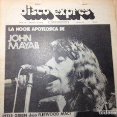 Revistas de música: CLIPPING DISCO EXPRESS - JOHN MAYALL - KING CRIMSON - PETER GREEN - CAT STEVENS - LOS CANARIOS. Lote 194956645