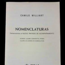 Revistas de música: CAMILO WILLIART NOMENCLATURAS AÑOS 80 REAL MUSICAL. SIN USO. RARO. Lote 196202442