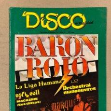 Revistas de música: DISCO ACTUALIDAD N° 21 (1982). BARÓN ROJO, NACHA POP, U2, HUMAN LEAGUE, SOFT CELL, LOS SECRETOS,.... Lote 196271600