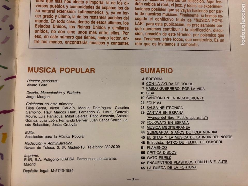 Revistas de música: MÚSICA POPULAR N° 1 (1984). PABLO GUERRERO, AUTE, SISA, GATO PEREZ, OSKORRI, FLAMENCO - Foto 2 - 196278093