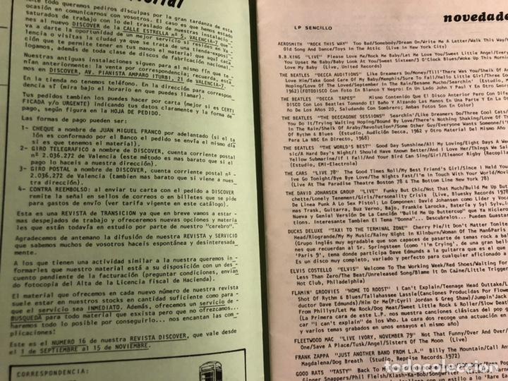 Revistas de música: DISCOVER N° 16 (VALENCIA 1981). HISTÓRICA REVISTA FANZINE PARA COMPRA DE LPs, SINGLES, VÍDEOS,... - Foto 2 - 196945751