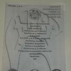 Revistas de música: DOSSIER INFORMATIVO SOBRE EL MOVIMIENTO SKINHEAD. Lote 197968245