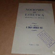 Revistas de música: LIBRO AÑO 1949. NOCIONES DE ESTÉTICA APLICADA A LA MÚSICA. Lote 204508923