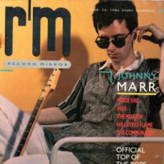 Revistas de música: RECORD MIRROR 14/06/1986 JOHNNY MARR (THE SMITHS) - MIDGE URE - THE MISSION - COMMUNARDS - INXS. Lote 205169720