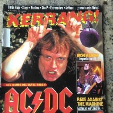 Revistas de música: KERRANG Nº 72 - AC/DC . KID ROCK . IRON MAIDEN . RAGE AGAINST THE NACHINE . BARON ROJO .. Lote 205252558