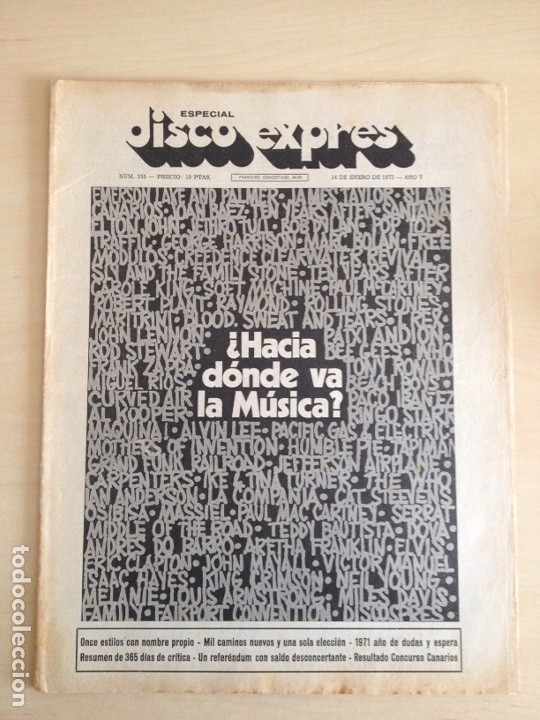 LED ZEPPELIN - JAMES TAYLOR - POP TOPS - CREAM - J.M. SERRAT - JIMMY CLIFF - DISCO EXPRES NUM. 155 (Música - Revistas, Manuales y Cursos)