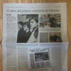 Revistas de música: PAGINA PERIODICO HERALDO DE ARAGON 35 AÑOS DEL PRIMER CONCIERTO HEROES DEL SILENCIO HDS. Lote 208328407