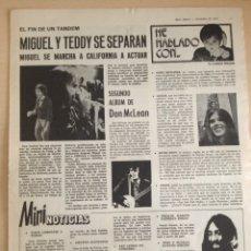 Revistas de música: TEDDY BAUTISTA - MIGUEL RIOS - CECILIA - DON MCLEAN - JOHN LENNON- JAMES VRIWN - JOHN MAYALL. Lote 209874407