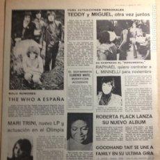 Revistas de música: TEDDY BAUTISTA - MIGUEL RIOS - THE WHO - ROBERTA FLACK - FUSIOON - CANARIOS - ROLLING STONES. Lote 209877855
