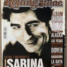 Revistas de música: ROLLING STONE N° 4 (2000). ALBERTO GARCÍA ALIX, BODA ALASKA EN LAS VEGAS, ANA TORROJA, SABINA, MARAD. Lote 213577938