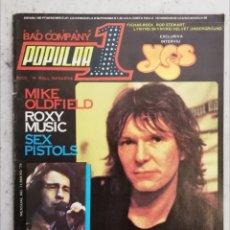 Revistas de música: POPULAR 1 MAYO 1979 NÚMERO 71 INCLUYE PÓSTER BAD COMPANY -MIKE OLDFIELD ROXY MUSIC YES. Lote 214422151