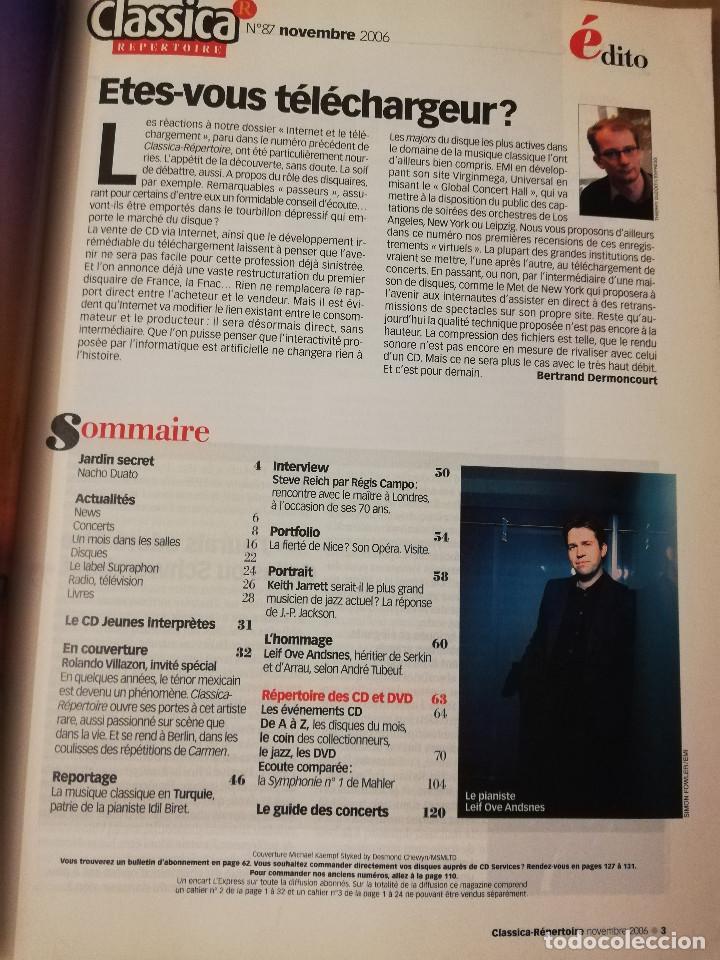 Revistas de música: REVISTA CLASSICA REPERTOIRE Nº 87 (NOVEMBRE 2006) ROLANDO VILLAZÓN - Foto 2 - 215262063