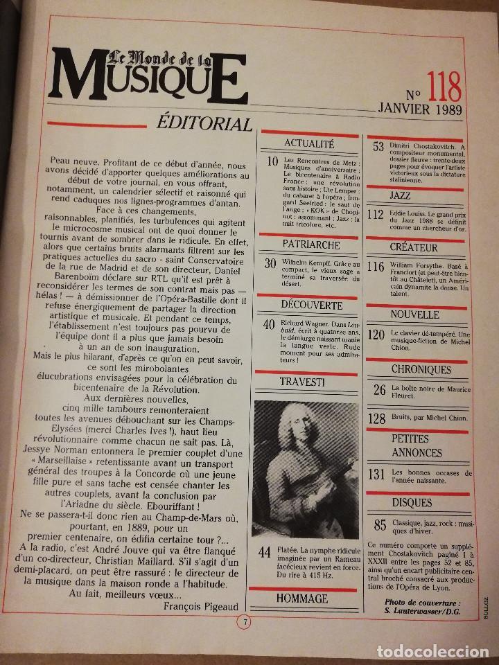 Revistas de música: REVISTA LE MONDE DE LA MUSIQUE Nº 118 (JANVIER 1989) WILHELM KEMPFF - Foto 2 - 215263453