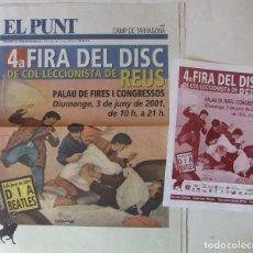 Revistas de música: PERIODICO EL PUNT DE REUS EDICION ESPECIAL FERIA DE COLECCIONISMO + FLYER PUBLICITARIO DIA BEATLES. Lote 217967688
