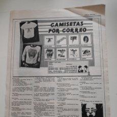 Revistas de música: NT HOJA MUSICAL EXPRES 1978 PUNK MOVIDA NUEVA OLA ANUNCIO VENTA CAMISETAS POR CORREO. Lote 222236958