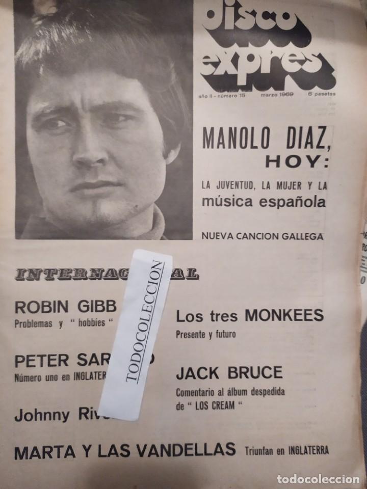 DISCO EXPRES 15 : BEATLES, BEE GEES, MANOLO DIAZ, ROBIN GIBB, NUEVA CANCION GALLEGA, MOSCOSO,J.BRUCE (Música - Revistas, Manuales y Cursos)
