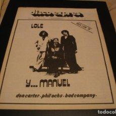 Riviste di musica: REVISTA DISCO EXPRES Nº 380 LOLE Y MANUEL GIL SCOTT HERON BAD COMPANY RON LANE 1976. Lote 224203055