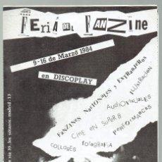 Riviste di musica: FANZINE PROMOCIONAL FERIA DEL FANZINE DISCOPLAY AÑO 1984 8 PÁG. NUEVO A ESTRENAR. Lote 231835610