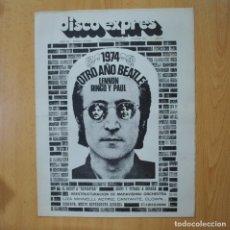Revistas de música: DISCO EXPRES - 1974 OTRO AÑO BEATLE LENNON RINGO Y PAUL / LIZA MINNELLI - REVISTA. Lote 233286010