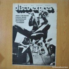 Revistas de música: DISCO EXPRES - JOHN COLTRANE / J. GEILS BAND / SUPERTRAMP - REVISTA. Lote 233286050