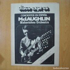 Revistas de música: DISCO EXPRES - MCLAUGHLIN MAHAVISHNU ORCHESTRA / PACO DE LUCIA - REVISTA. Lote 233286210
