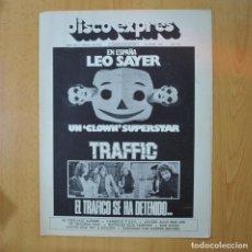 Revistas de música: DISCO EXPRES - LEO SAYER / TRAFFIC - REVISTA. Lote 233286905