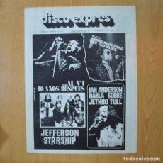 Revistas de música: DISCO EXPRES - JEFFERSON STARSHIP / IAN ANDERSON HABLA SOBRE JETHRO TULL - REVISTA. Lote 233287525