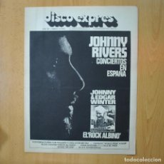 Revistas de música: DISCO EXPRES - JOHNNY RIVERS / JOHNNY & EDGAR WINTER EL ROCK ALBINO - REVISTA. Lote 233287570