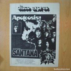 Revistas de música: DISCO EXPRES - APOTEOSIS SANTANA - REVISTA. Lote 233287580