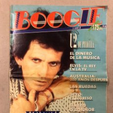 Revistas de música: BOOGIE N° 1 (1988). KEITH RICHARDS, FOTO LOQUILLO, U2, LAS RUEDAS, DEVO, ELVIS, SINEAD O'CONNOR. Lote 236223250