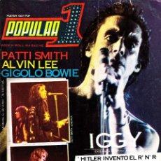 Revistas de música: REVISTA POPULAR 1 NUMERO 60 1978 IGGY POP, PATTI SMITH, DAVID BOWIE, CON POSTER DE IGGY. Lote 236659015