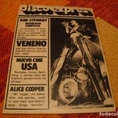 Riviste di musica: REVISTA DISCO EXPRES Nº 460 ROD STEWART VENENO ALICE COOPER IGGY POP HUMBLE PIE 1978. Lote 240219580
