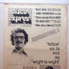 Riviste di musica: DISCO EXPRES Nº 88 - 1970 DARWIN TEORIA STREISSAND HENDRIX BEE GEES MAX B BRINCOS TARA BEACH BOYS. Lote 243159820