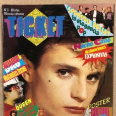 Revistas de música: TICKET N° 3 (1984). NACHO CANO (MECANO), AVIADOR DRO, QUEEN, POSTER CULTUR CLUB,.... Lote 246475915
