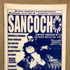 Revistas de música: SANCOCH METÁLICO N° 13 (LANZAROTE 1991). HISTÓRICO FANZINE; ESKORBUTO, NEGU GORRIAK, GUERRILLA URBAN. Lote 246770705