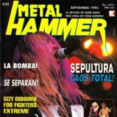 Revistas de música: REVISTA METAL HAMMER NUMERO 94 SEPULTURA CON POSTER DE PAGE PLANT Y BON JOVI. Lote 252055245