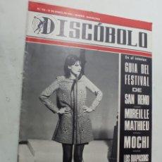 Riviste di musica: REVISTA AÑO 1967 DISCÓBOLO 116 FESTIVAL SANREMO SANDIE SHAW LOS MONKKEES LOS DIAPASONS MOCHI. Lote 265902413