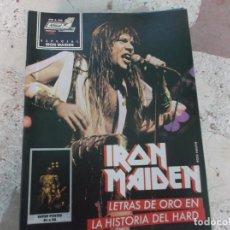 Magazines de musique: POULAR 1, ESPECIAL 104, POSTER 81 X 54, IRON MAIDEN, LETRAS DE ORO. Lote 276789363