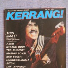 Riviste di musica: KERRANG :N.34-THIN LIZZY-STATUS QUO-MAMAS BOYS-TED NUGENT-ASIA-LORDS OF THE NEW. Lote 287349868