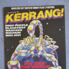 Revistas de música: KERRANG :N.96-SCORPIONS-DEEP PURPLE-BON JOVI-WARLOCK-NIGHT RANGER-BON JOVI. Lote 287934338