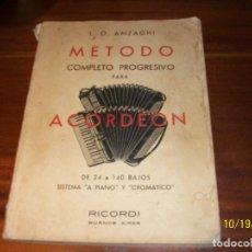 Revistas de música: METODO COMPLETO PROGRESIVO PARA ACORDEON-L.O.ANZAGHI-RICORDI-BUENOS AIRES-1958. Lote 294936758