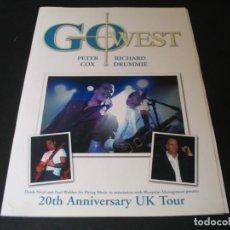 Revistas de música: PETER COX RICHARD DRUMMIE GO WEST PROGRAMA 20TH ANNIVERSARY UK TOUR. Lote 295819338